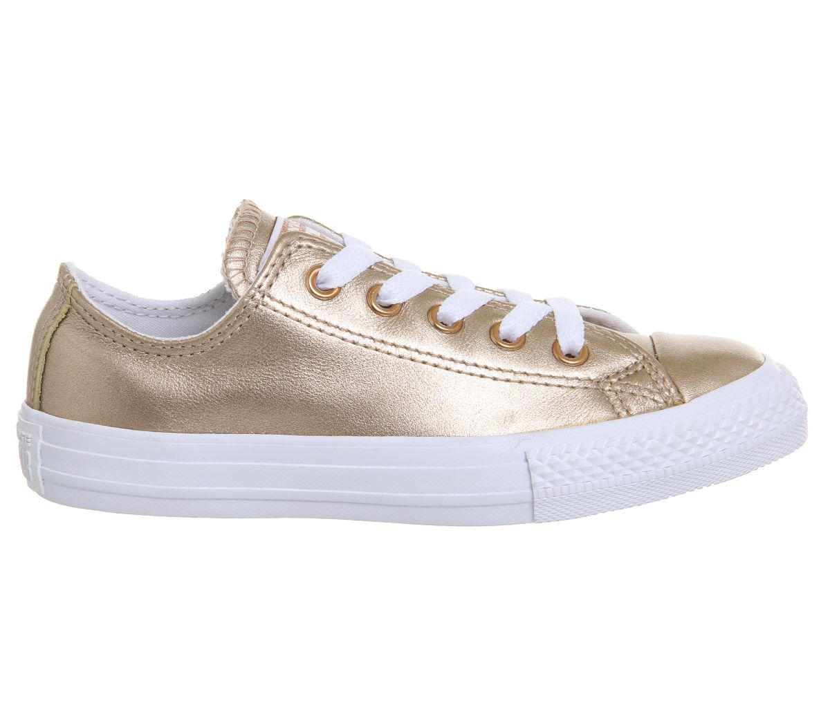 54ef1e9cf491a Kids Converse All Star Ox Leather Kids Rose Gold Metallic Exclusive ...