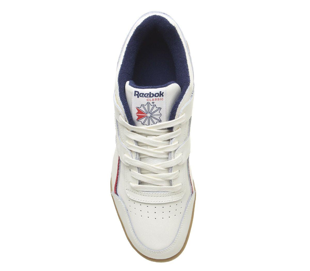 Detalles de Reebok Entrenamiento más Zapatillas Clásicas Blancas Fresco Azul Marino Rojo