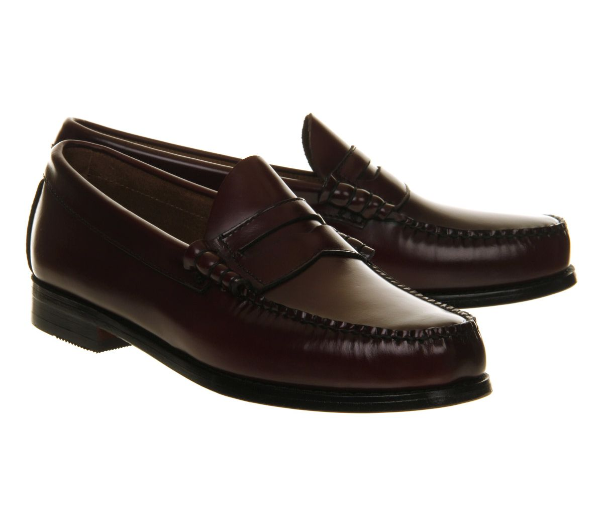 5422291e9f5 Mens G.H Bass   Co Larson Penny Loafers Maroon Leather Formal Shoes ...