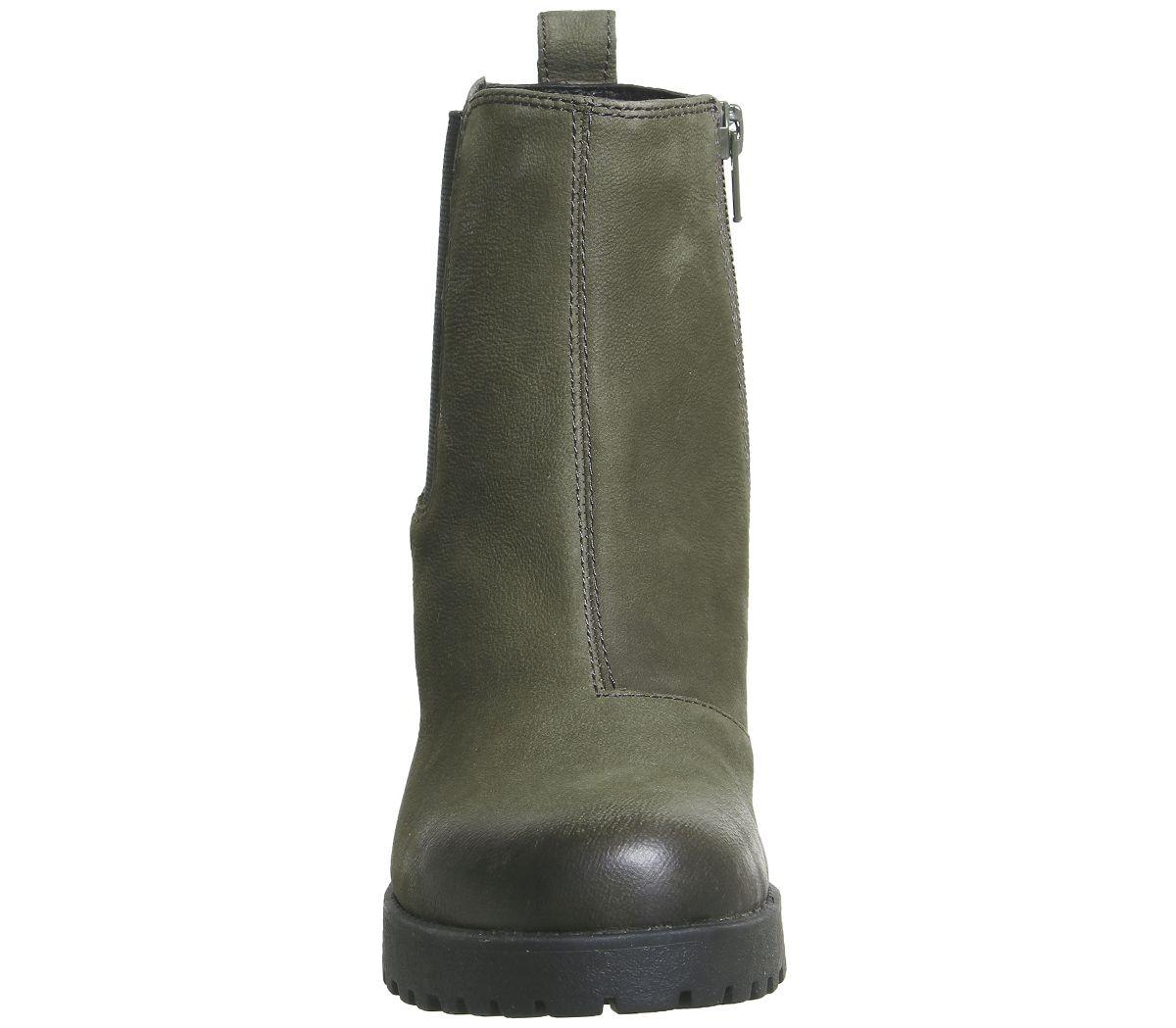 7dfab9848 Womens Vagabond Grace Heeled Chelsea Boots Dark Olive Nubuck Boots ...
