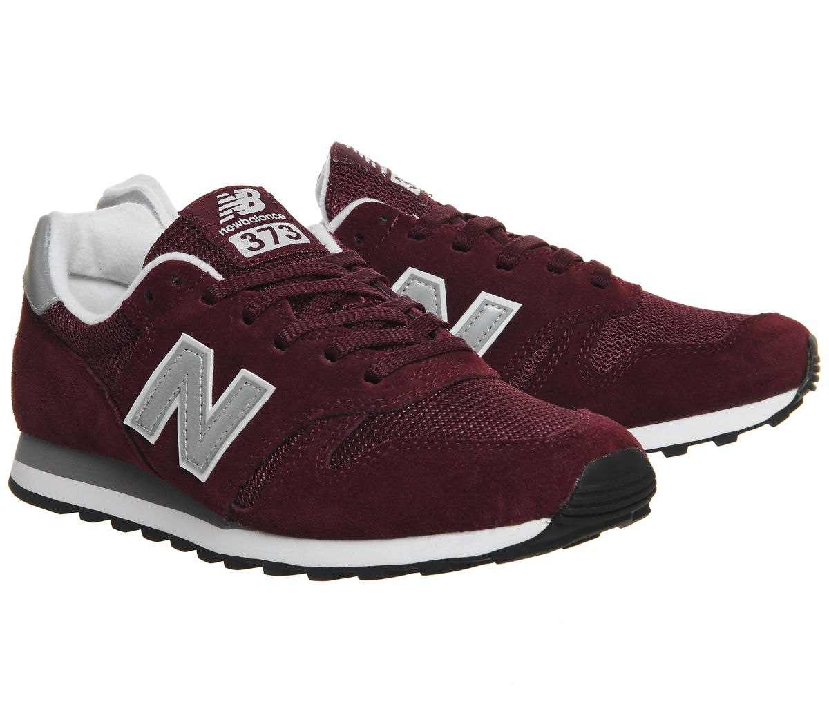 buy popular 1d80b 65b05 Sentinel Mens New Balance 373 Burgundy Silver Trainers Shoes