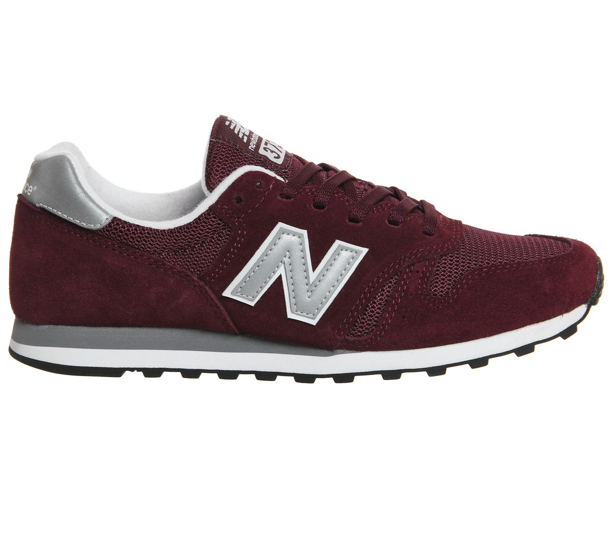 7485fabf49f Sentinel Mens New Balance 373 Burgundy Silver Trainers Shoes