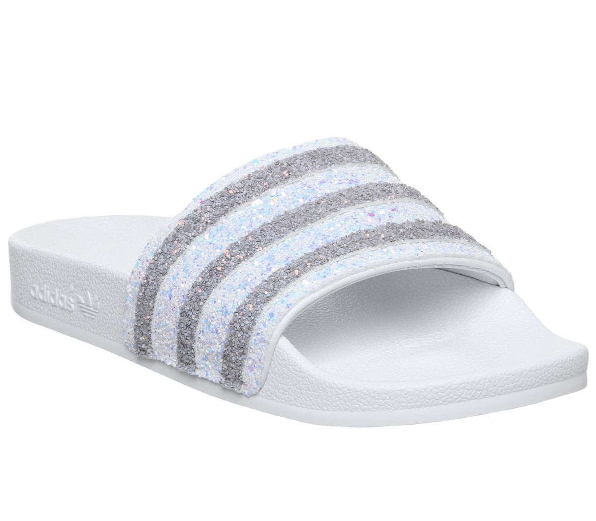 Details about Womens Adidas Adilette Sliders White Glitter Sandals