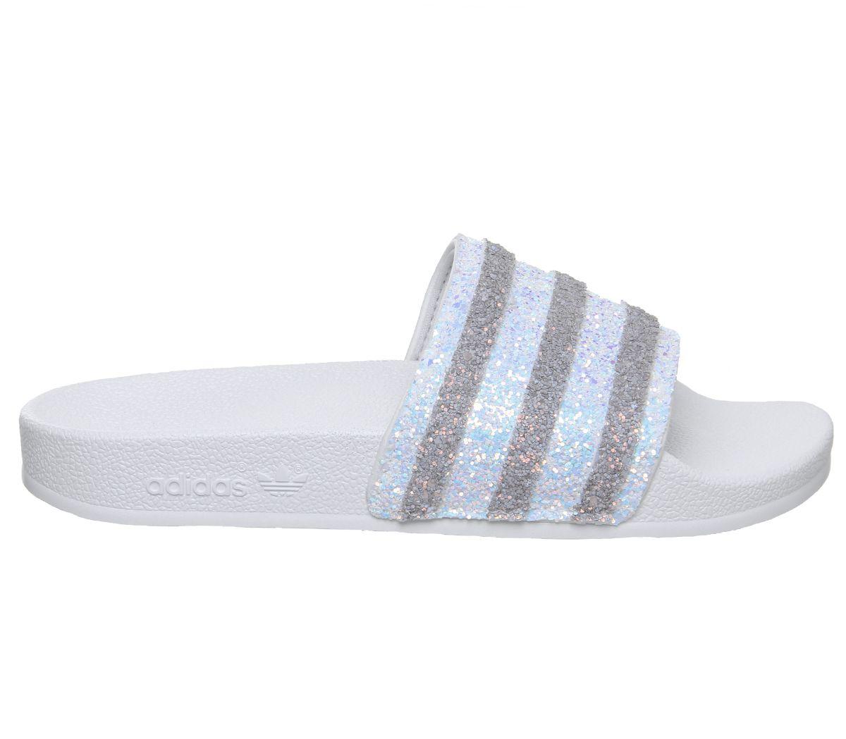 Details zu Damen adidas Adilette Schieber Weiß Glitzer Sandalen