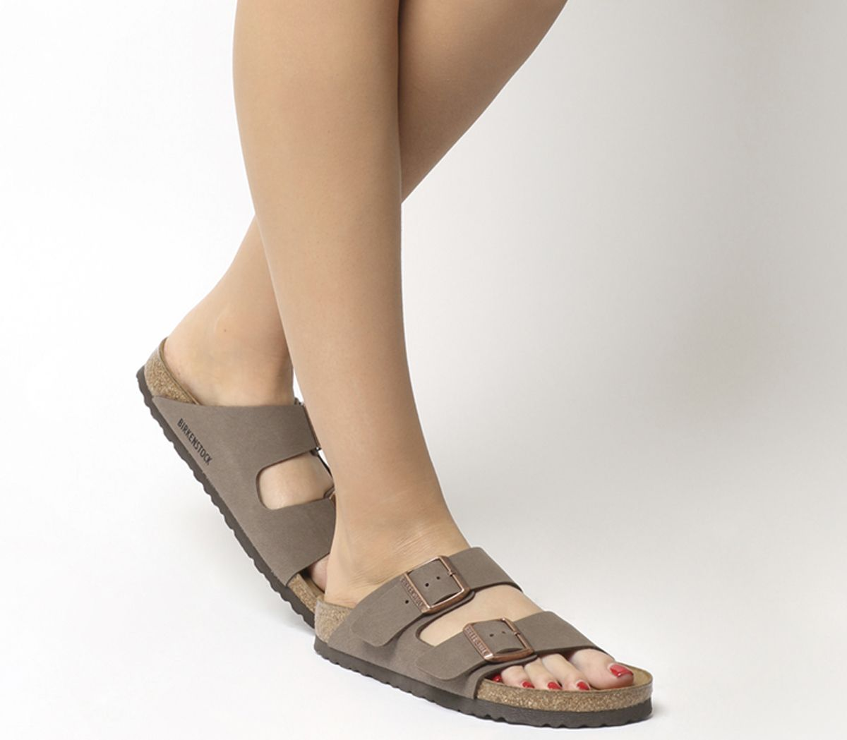 new concept 54b2c 5a16d Dettagli su Donna Birkenstock Arizona Due Sandali con Cinturino Color Moca  Birko-Flor