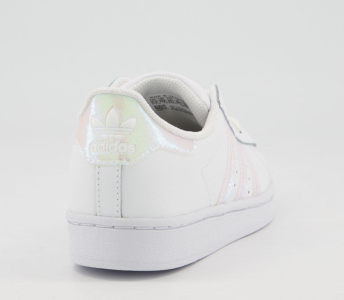 Dettagli su Bambini Adidas Superstar Bambini 10 2 Scarpe Sportive Bianco Iridescente Bambini