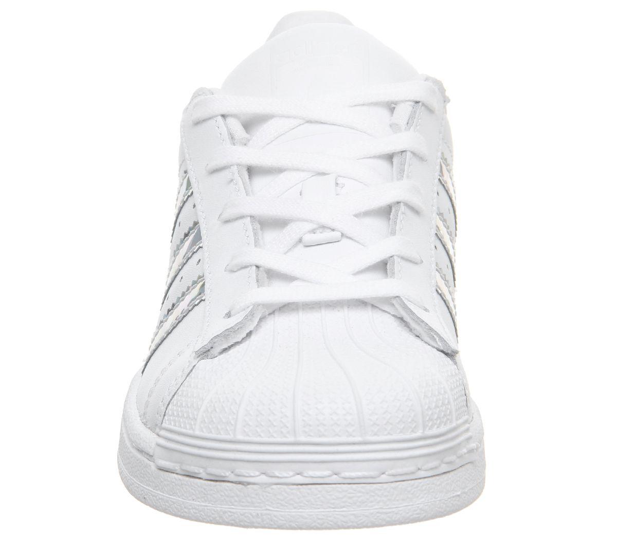 Dettagli su Bambini Adidas SUPERSTAR Kids 10 2 Scarpe Da Ginnastica Bambini Bianco Argento Metallizzato mostra il titolo originale