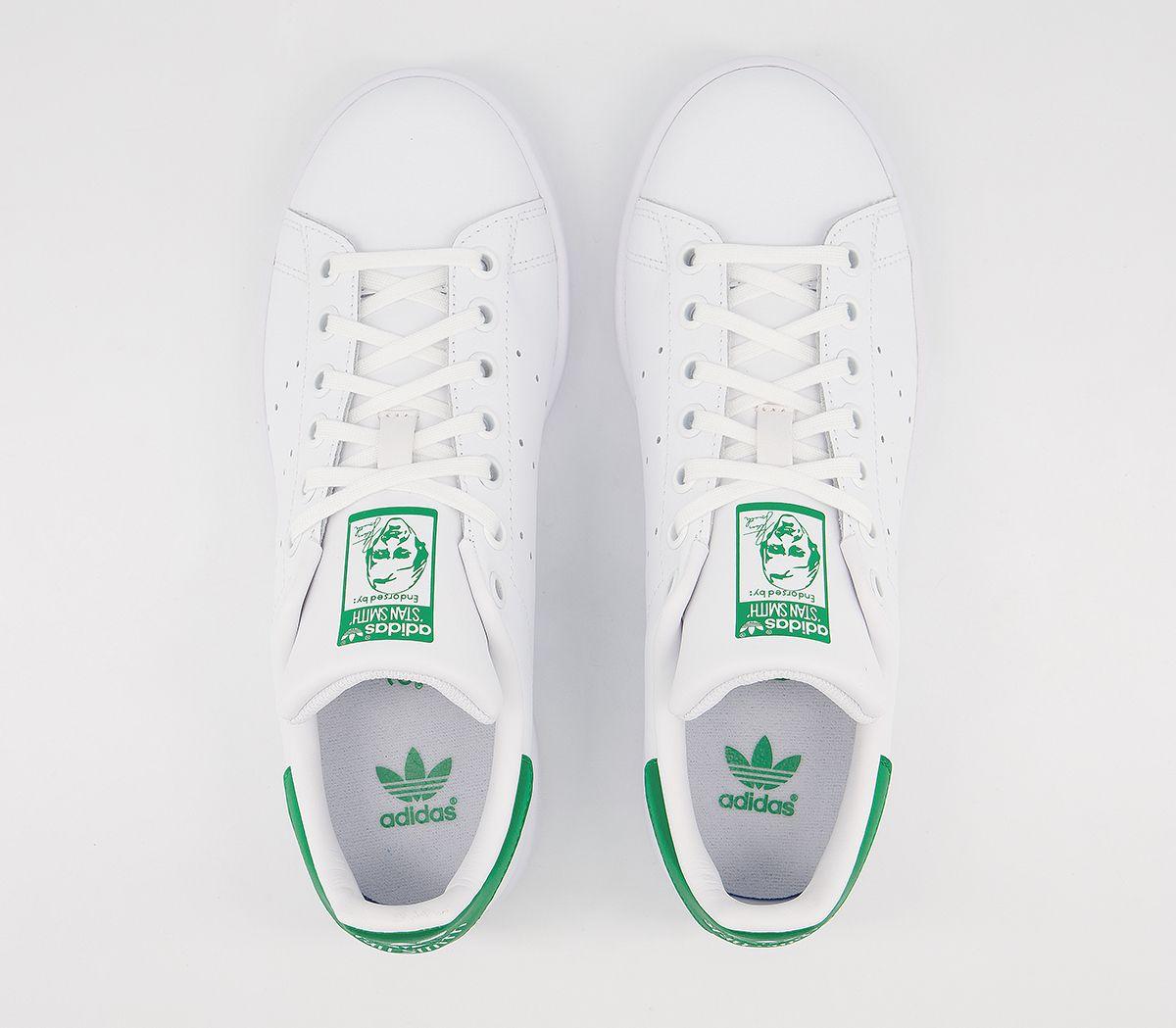 nouveaux styles 2f005 8f9ec Détails sur Kids Adidas Stan Smith Baskets Core Blanc Vert- afficher le  titre d'origine