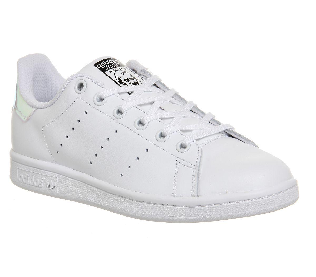 meilleure sélection 68a30 e2872 Détails sur Enfants adidas Stan Smith Blanc Argent Métallique Blanc Enfants