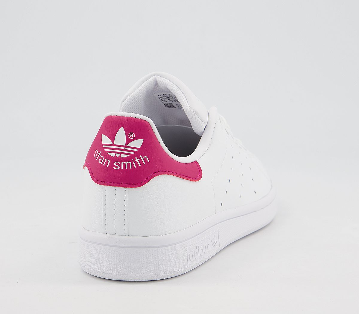 fa74b53f4 Womens Adidas Stan Smith Gs Trainers White White Bold Pink Trainers ...