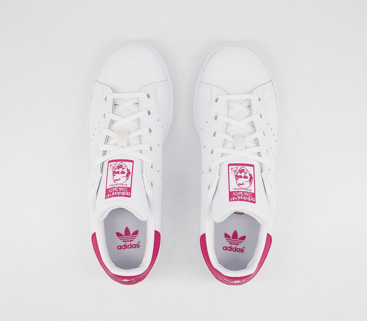 0f4413898b Womens Adidas Stan Smith Gs Trainers White White Bold Pink Trainers ...