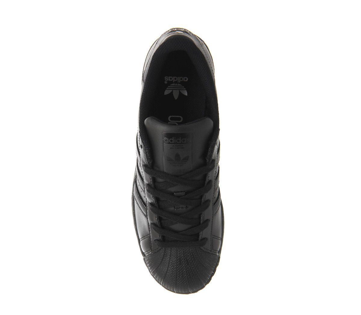 7330453c4e19e Womens Adidas Superstar Trainers Black Mono Trainers Shoes   eBay