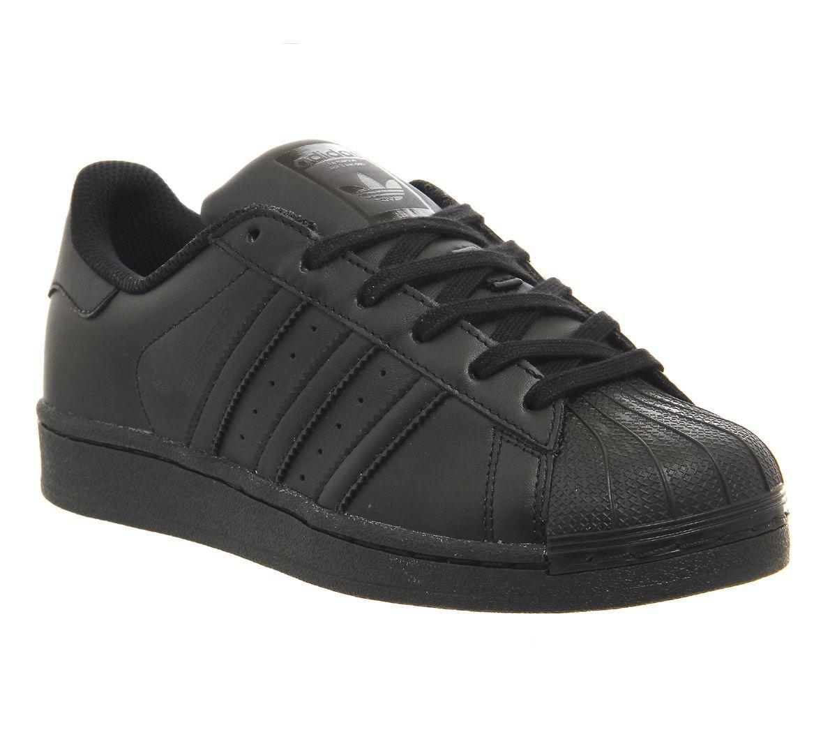 Détails sur Short Femme Adidas Superstar Baskets Noir Mono Baskets  Chaussures- afficher le titre d'origine
