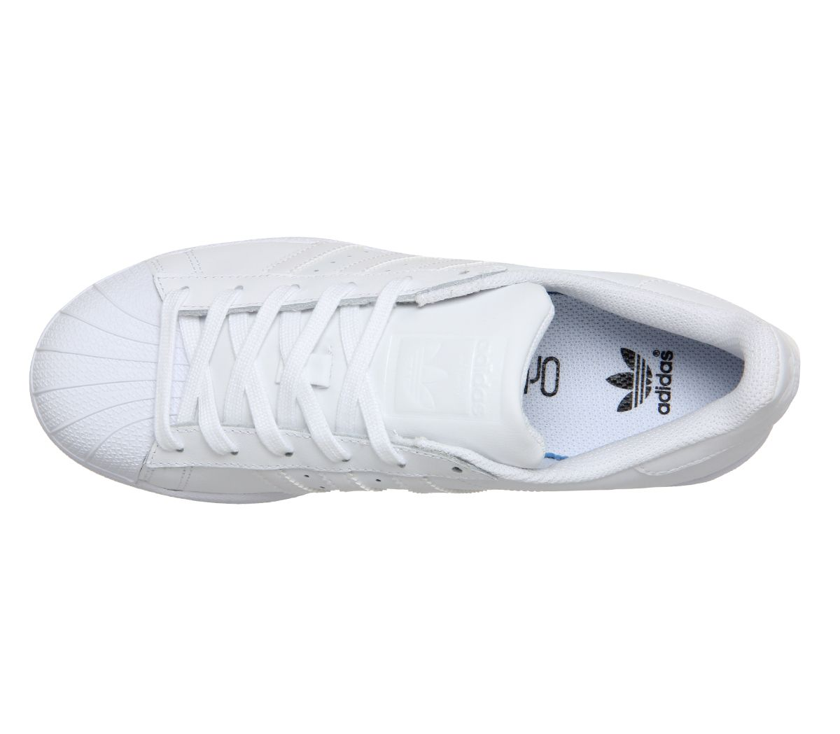 Details about Womens Adidas Superstar Trainers White Mono Foundation Trainers Shoes