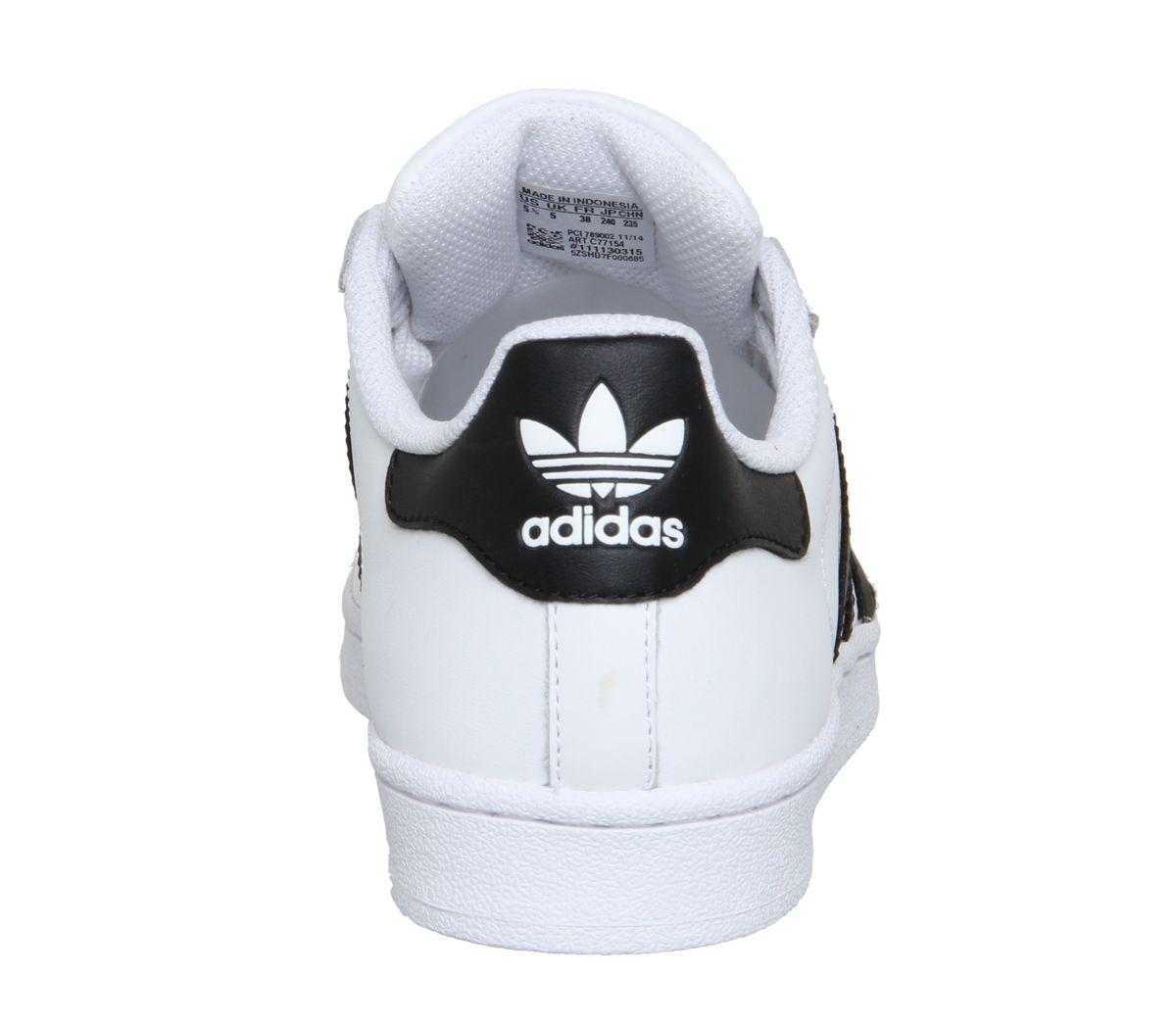 bas prix 423d0 6c10a Détails sur Femmes Adidas Superstar Baskets Blanches Noires Foundation  Baskets
