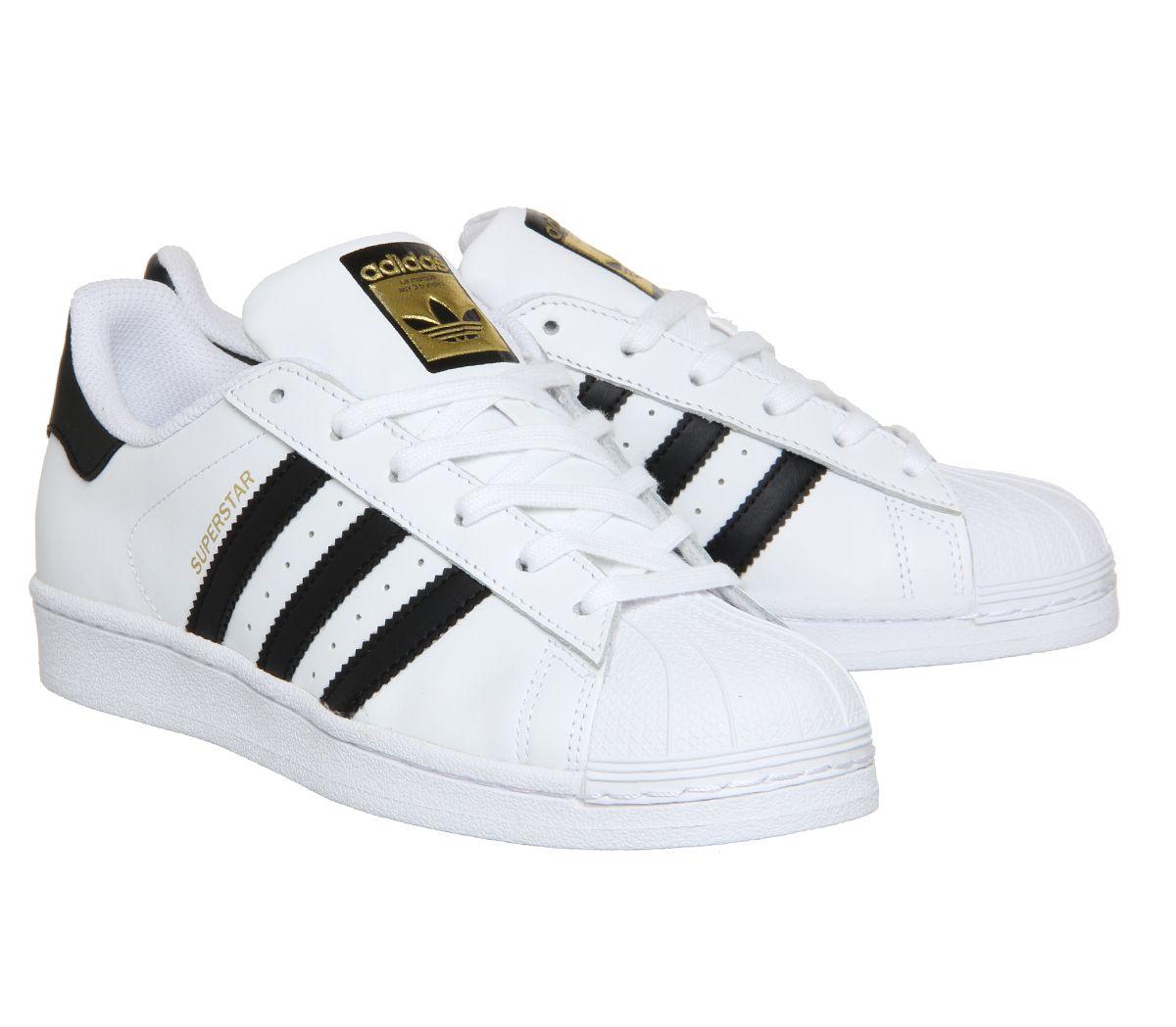 chaussures de sport 18a0f a7923 Détails sur Femmes adidas Superstar Baskets Blanc Noir Foundation Baskets