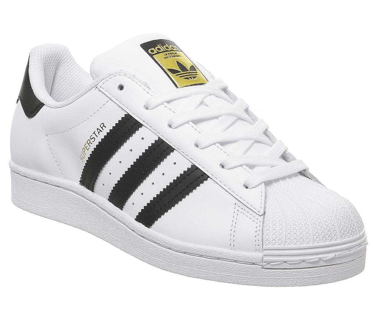 Detalles de Mujer adidas Superstar GS Zapatillas Blanco Negro Zapatillas  Blancas
