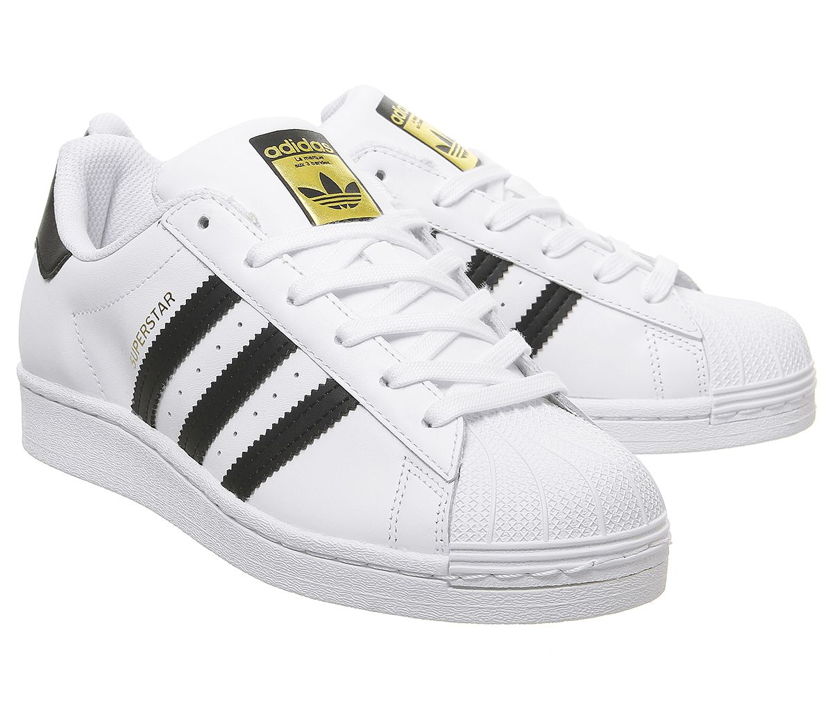 Falsificación acortar Incesante  Womens Adidas Superstar Gs Trainers White Black White Trainers Shoes | eBay