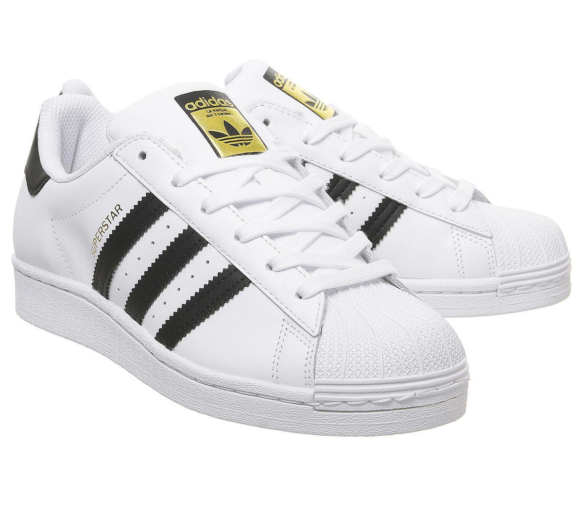 Da-Donna-Adidas-Superstar-GS-Scarpe-Da-Ginnastica-Bianco-Nero-Scarpe-Da-Ginnastica-Bianco miniatura 7