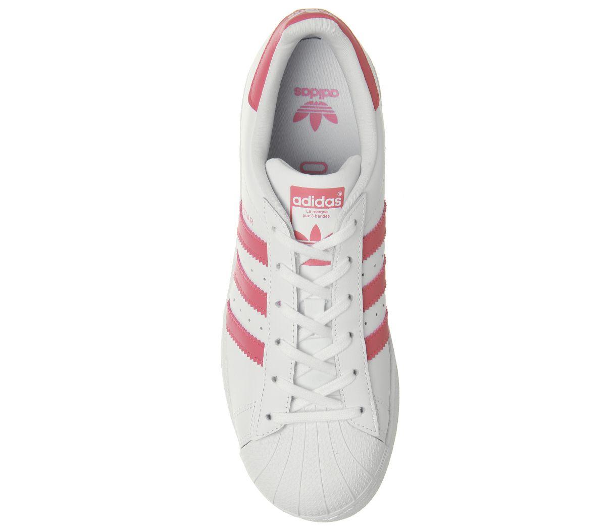717985dddbb8 Femmes Adidas Superstar Gs Chaussures Blanches Rose Transparent ...