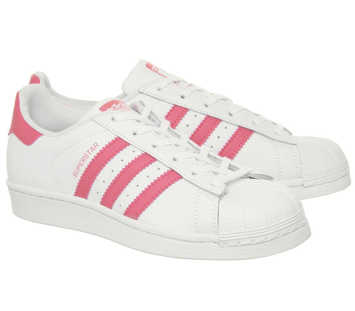 Dettagli su Da Donna Adidas Superstar GS Scarpe da ginnastica White Scarpe  Da Ginnastica Rosa Chiaro- mostra il titolo originale
