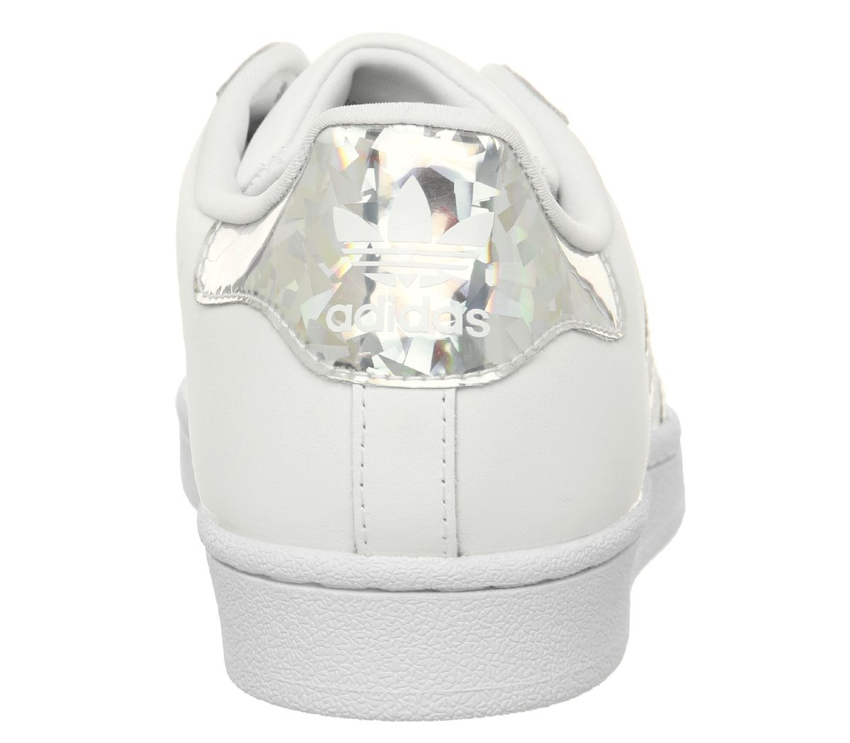 93236cd68e7 Womens Adidas Superstar Gs Trainers White Silver Holographic ...