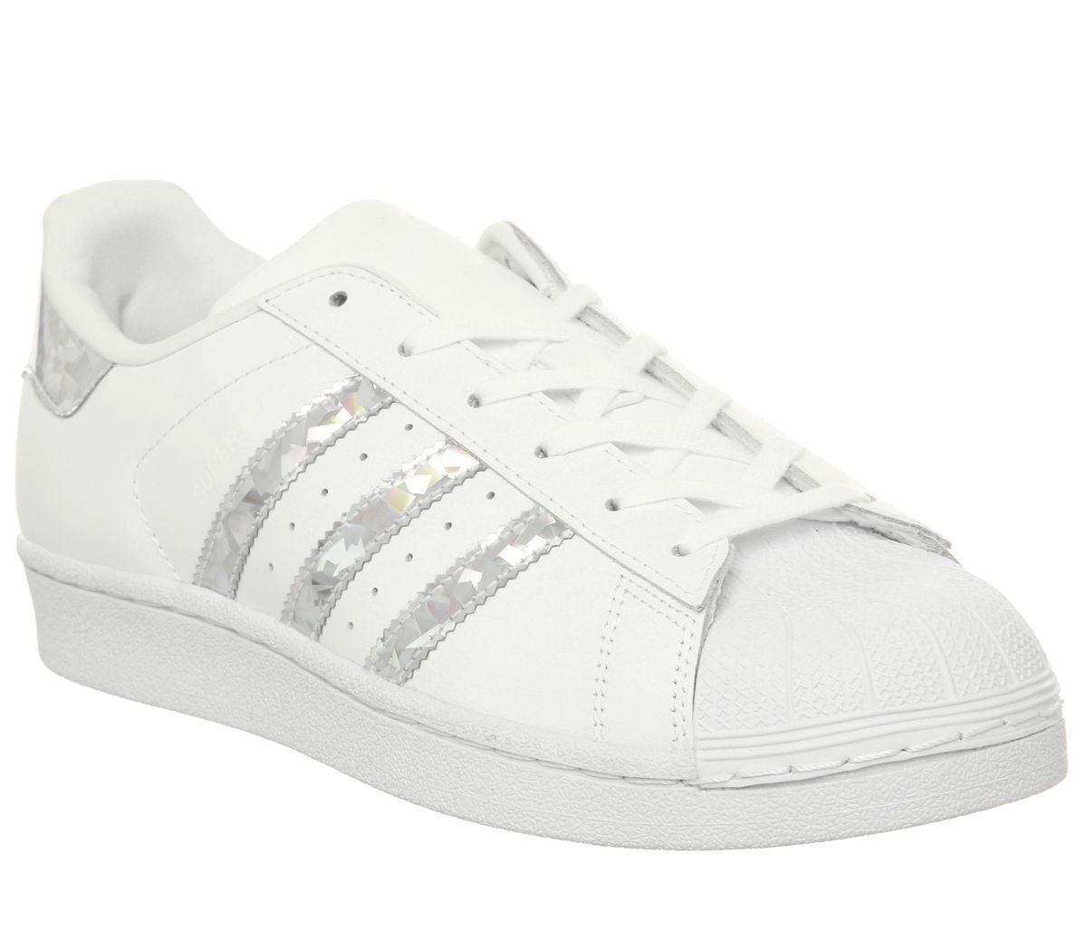 Detalles acerca de Zapatillas para mujer Adidas Superstar GS Blanco Plata Holográfica Zapatillas Zapatos mostrar título original