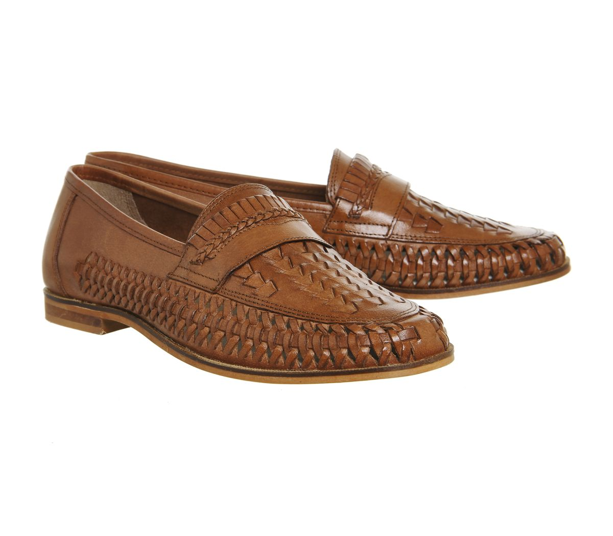 92a42510eed9 Uomo Office Fiocco Weave Slip-On, Loafers Marrone Lucido Scarpe ...