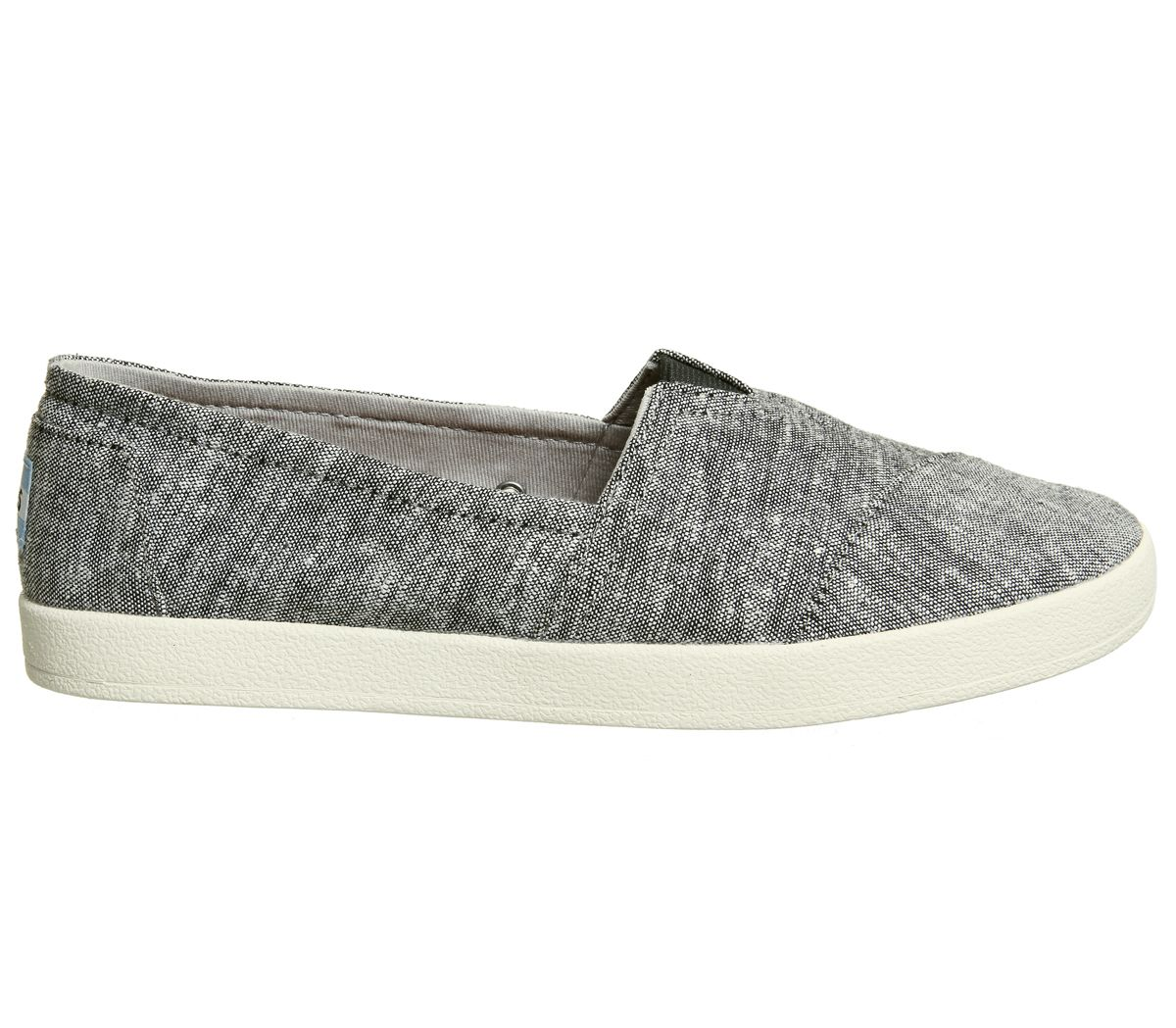 Womens-Toms-Avalon-Sneakers-Black-Slub-Chambray-Flats thumbnail 5