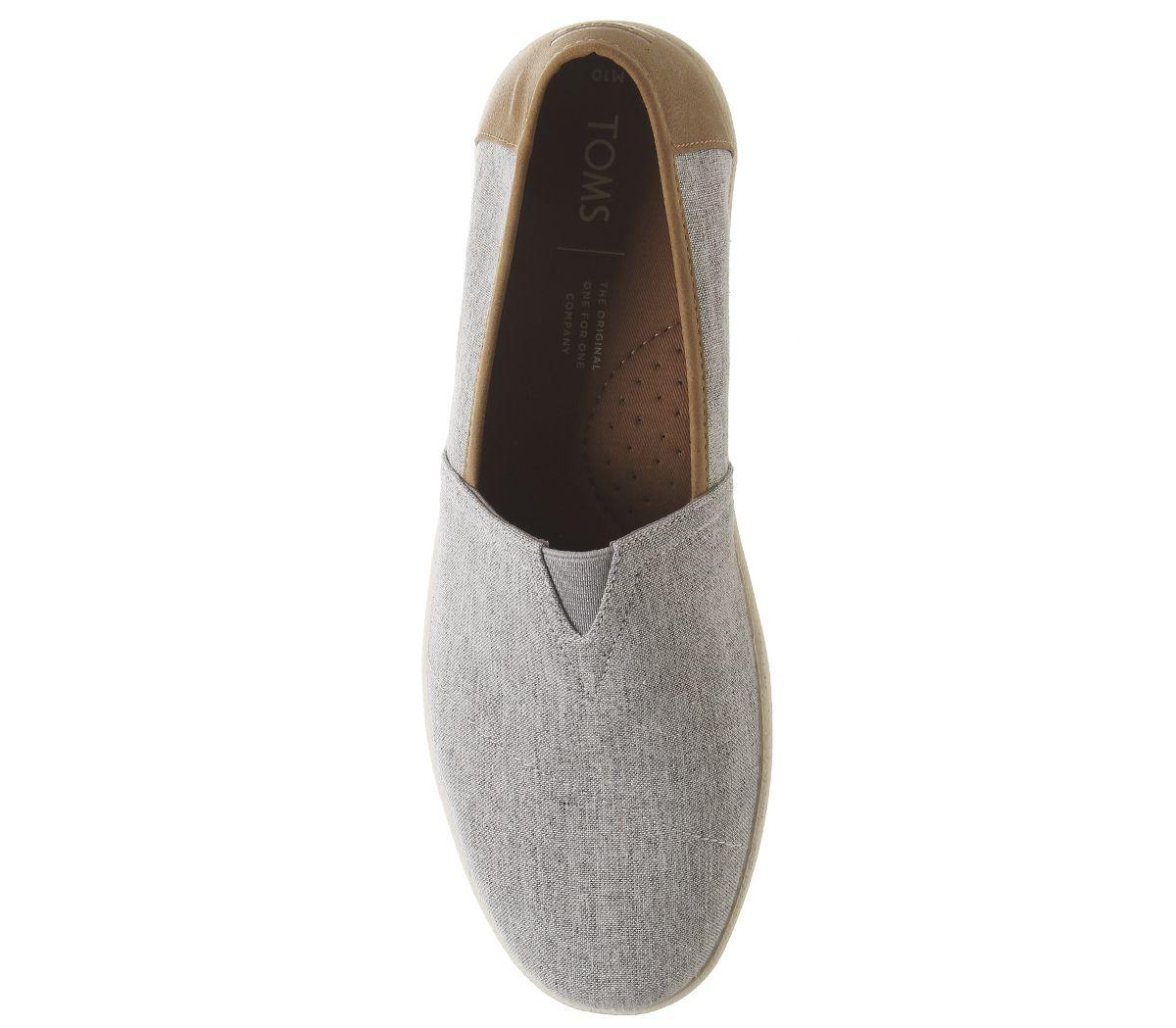 Para-Hombre-Toms-Avalon-Cupsole-Slip-Ons-llovizna-Gris-Chambray-Informal-Zapatos miniatura 5
