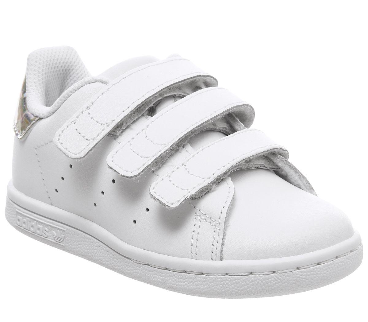 Detalles de Niños adidas Stan Smith Cf Td 3-9 Zapatillas Blancas Plata  Metálico Niños