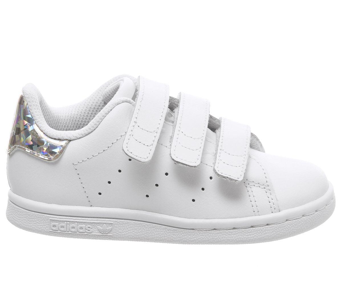 Détails sur Enfants Adidas Stan Smith Cf Td 3 9 Baskets Blanc Argent Métallisé Enfants