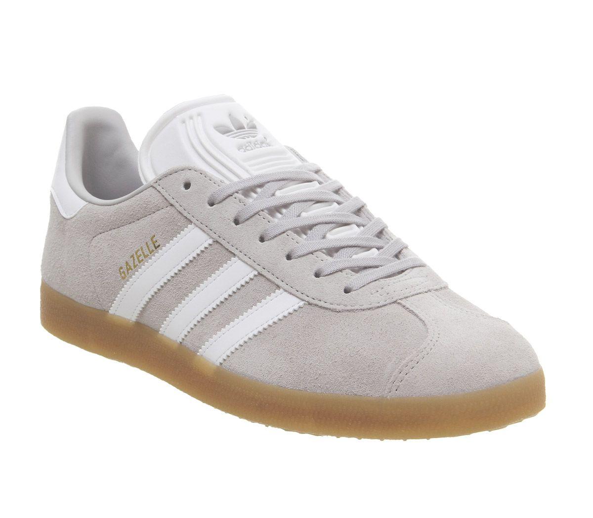 site réputé fa178 00e47 Detalles de Adidas Gazelle Gris de Entrenadores Dos Blancas Goma Zapatillas  Deportivas