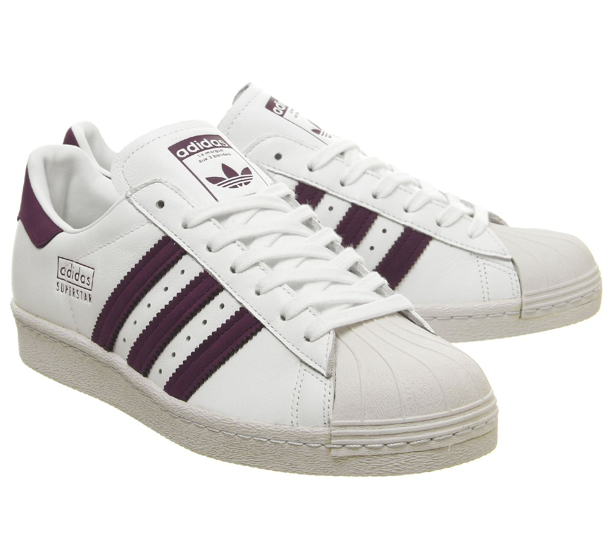 Details zu Herren Adidas Superstar 80er Jahre Turnschuhe Weiß Maroon Kristall Weiße