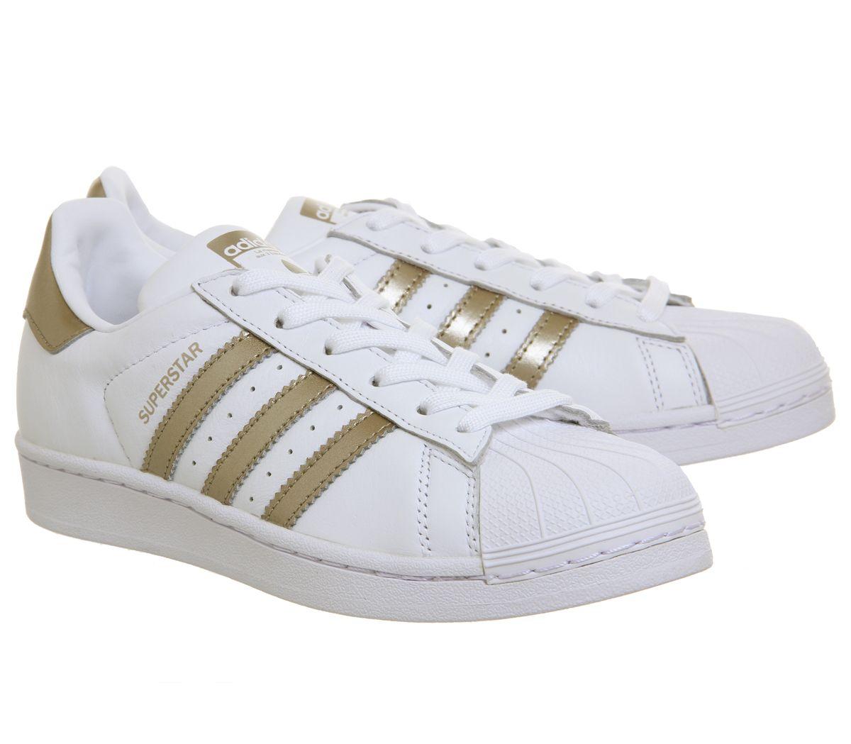 Détails sur Femmes Adidas Superstar 1 Chaussures Blanches Métallique Baskets
