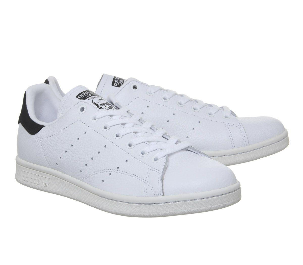 new style 715f3 c6a8d Détails sur Homme Adidas Stan Smith Baskets Blanc White Core Noir Baskets  Chaussures- afficher le titre d origine