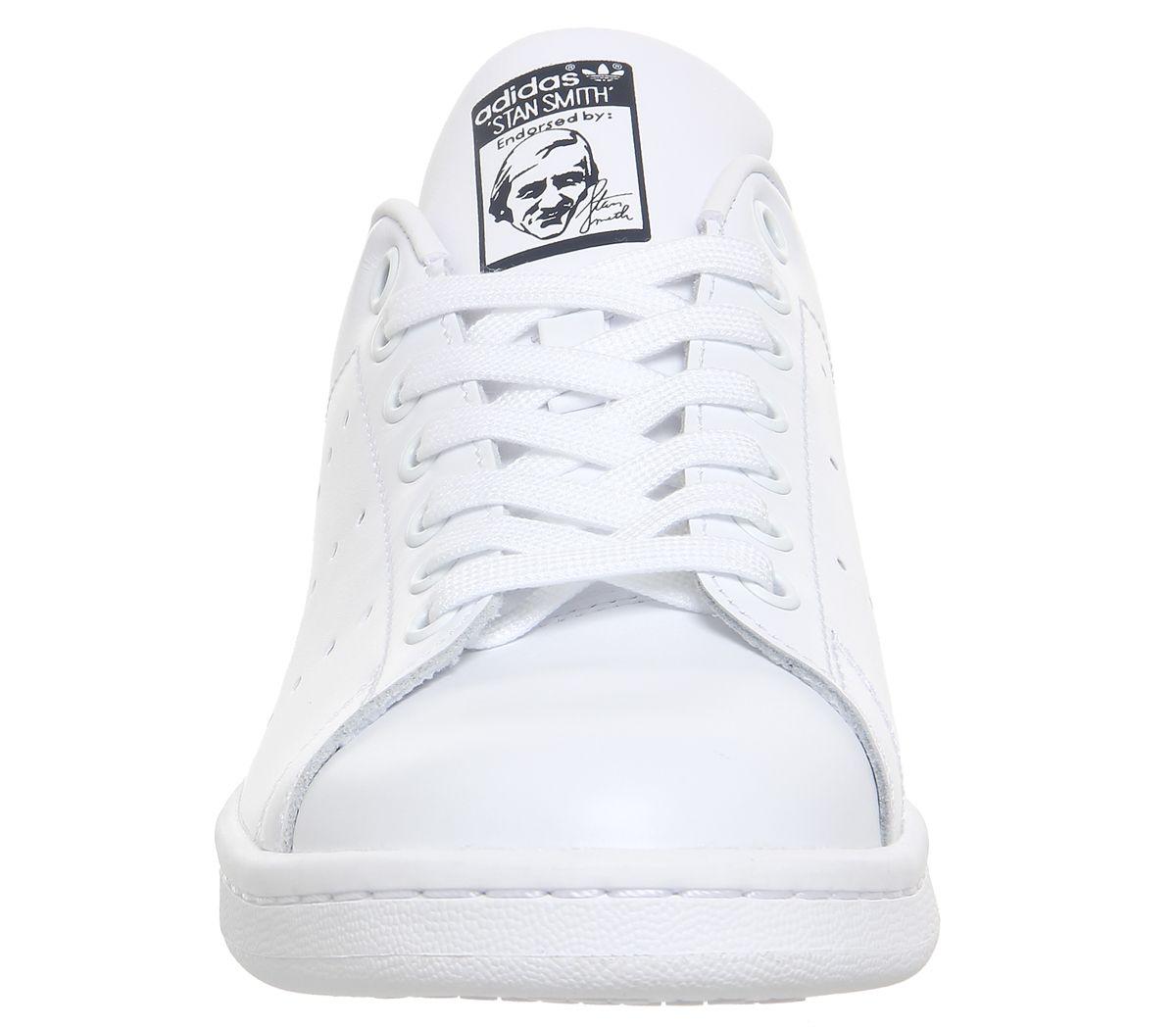 Détails Sur Hommes Adidas Stan Smith Baskets Coeur Blanc Bleu Foncé Baskets