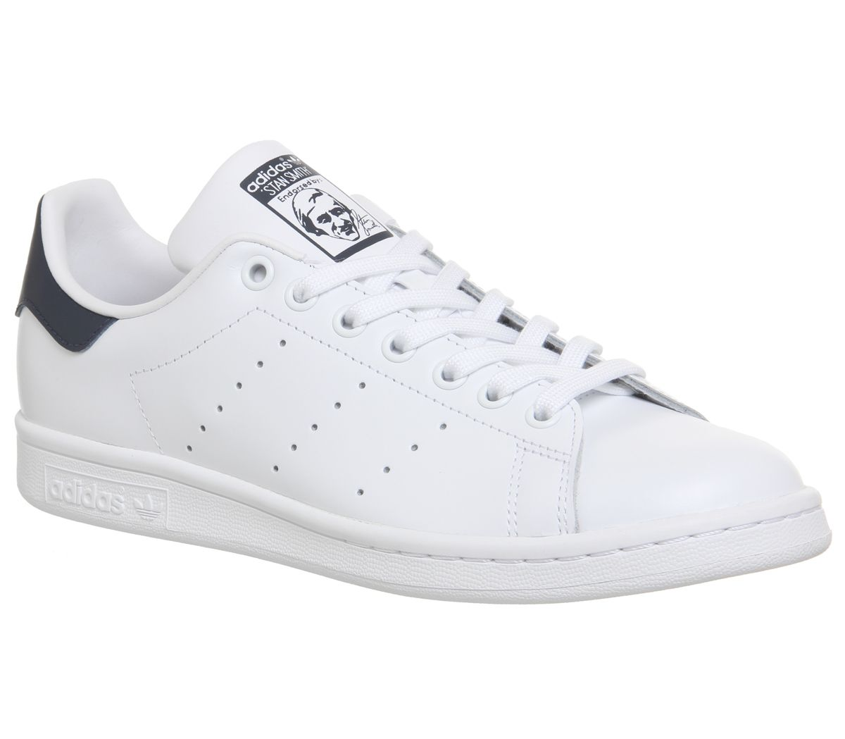 separation shoes 9caff 07d56 Sentinel Mens Adidas Stan Smith Trainers Core White Dark Blue Trainers Shoes