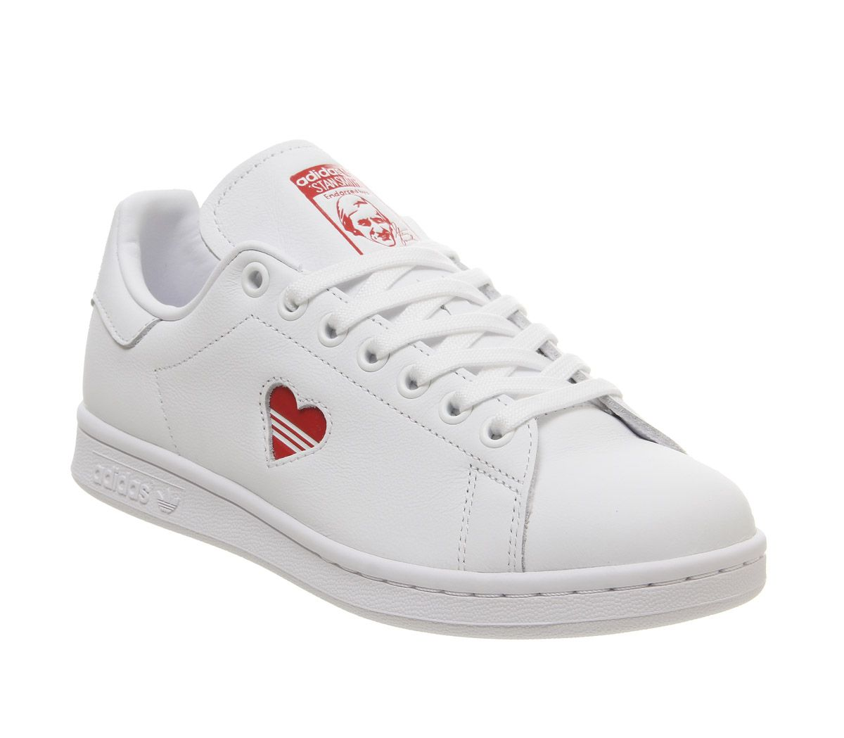 official photos f0f6e 4f422 Sentinel Womens Adidas Stan Smith Trainers White Red Heart Trainers Shoes