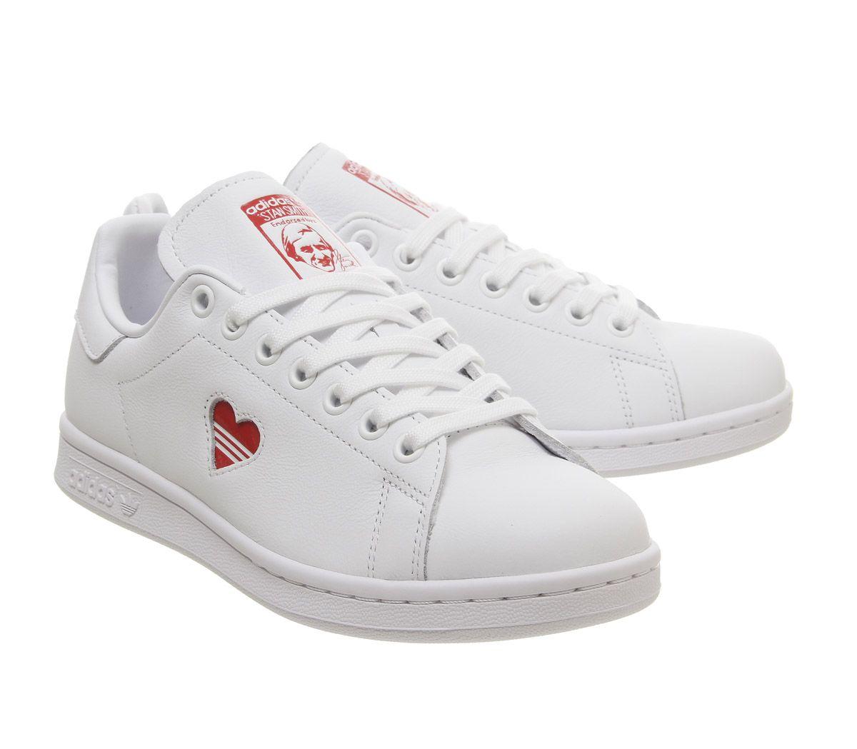 estilo exquisito compra venta buena calidad Mujer adidas Stan Smith Zapatillas Blancas Corazón Rojo Zapatillas | eBay