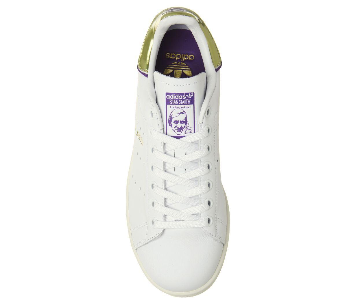 new product 44eca 7d4f8 Sentinel Womens Adidas Stan Smith Trainers Off White Purple Gold Metallic  Elizbeth Tfl Tr