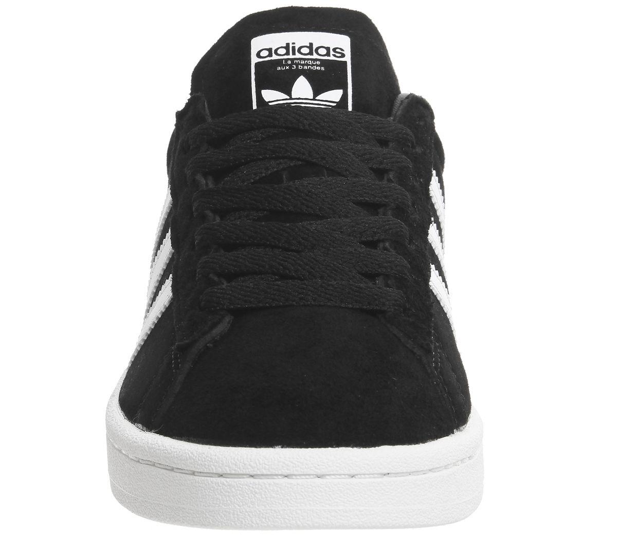 Détails sur Adidas Campus Pour Homme Noir Blanc Baskets Chaussures afficher le titre d'origine