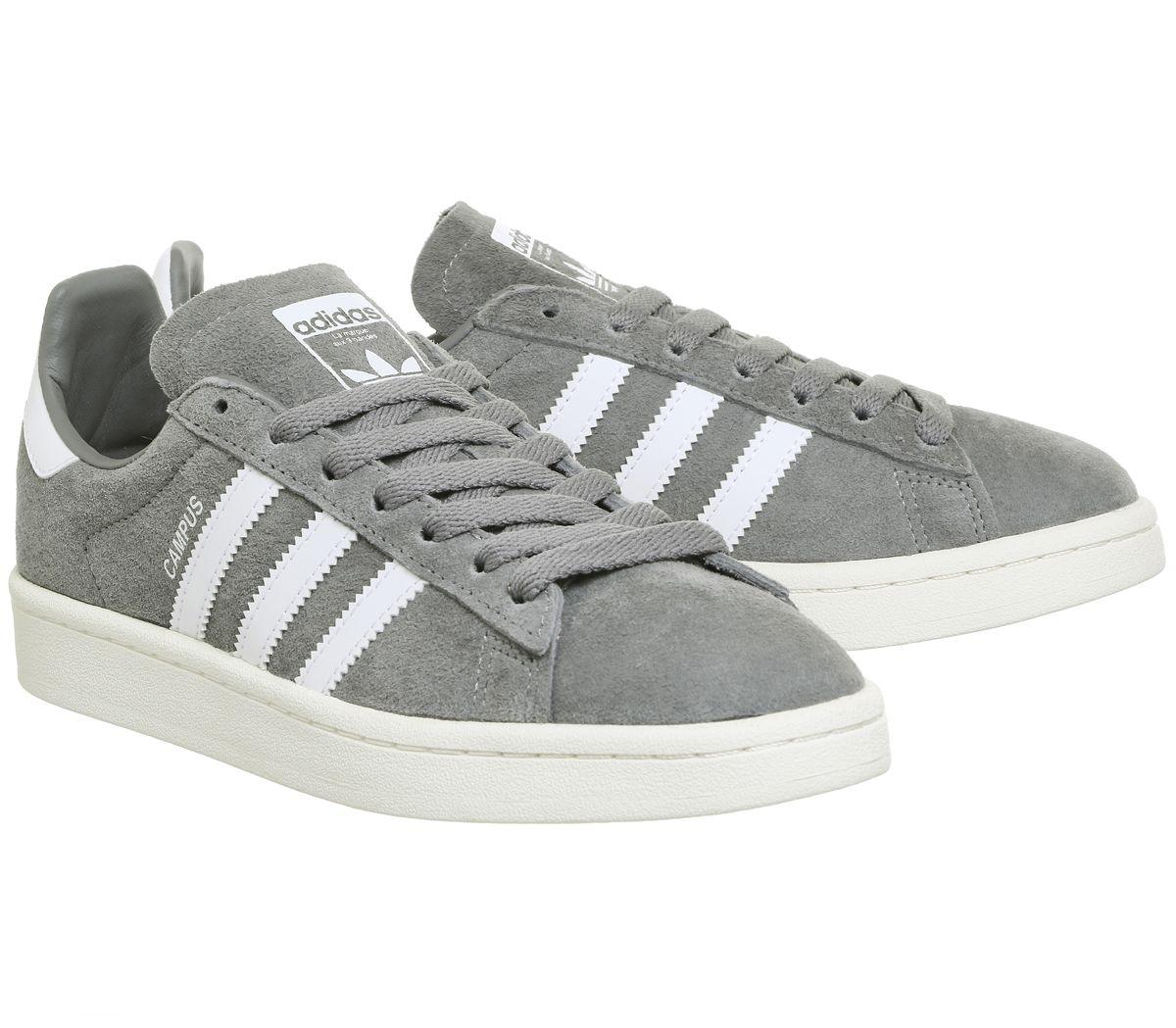 super popular 4bda6 ff3f4 Sentinel Mens Adidas Campus Grey Three White Trainers Shoes