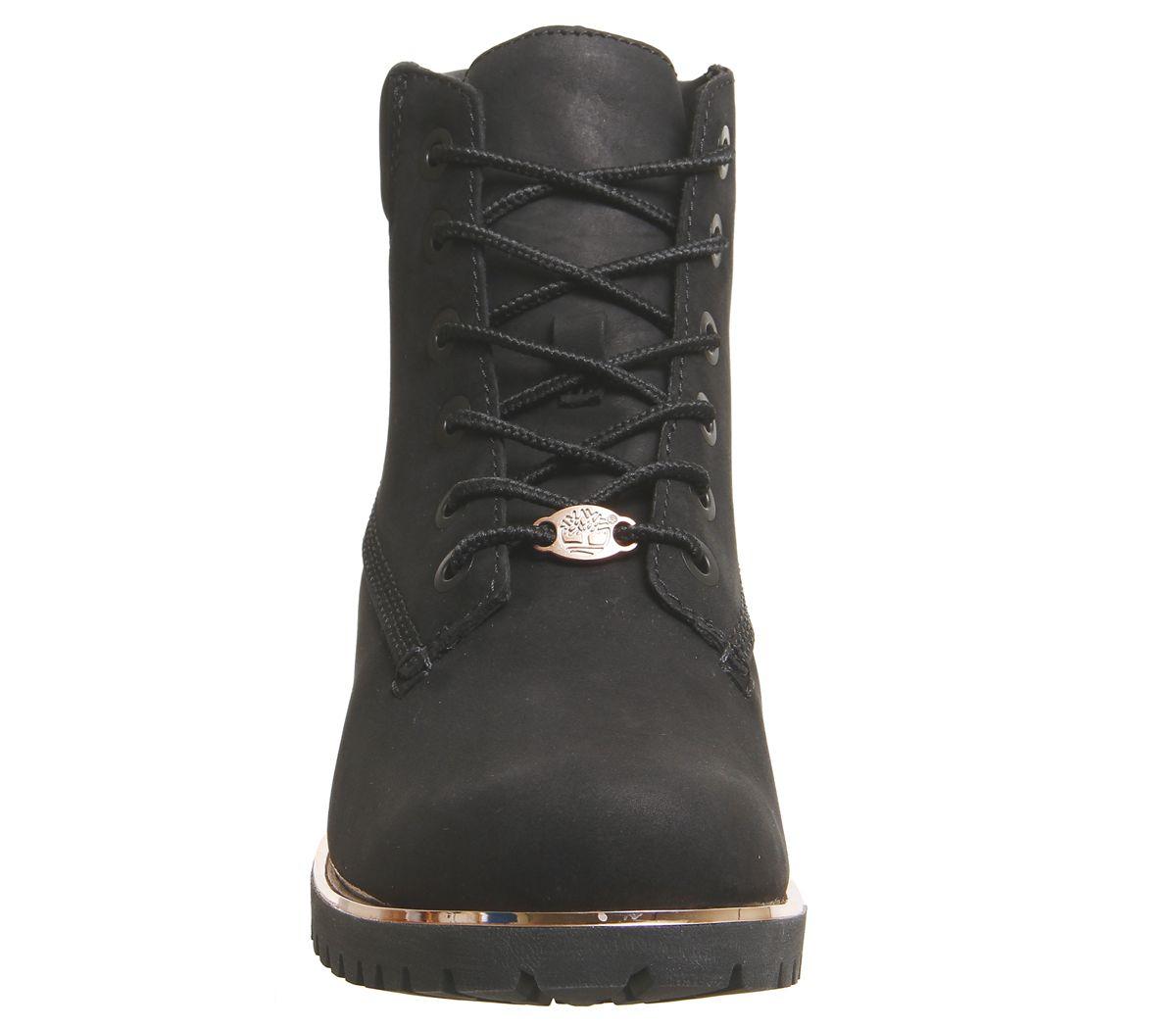 c409345cd3 Dettagli su Donna Timberland Slim Premium 15.2cm Stivali Neri Rosa Dorato  Rand Stivali