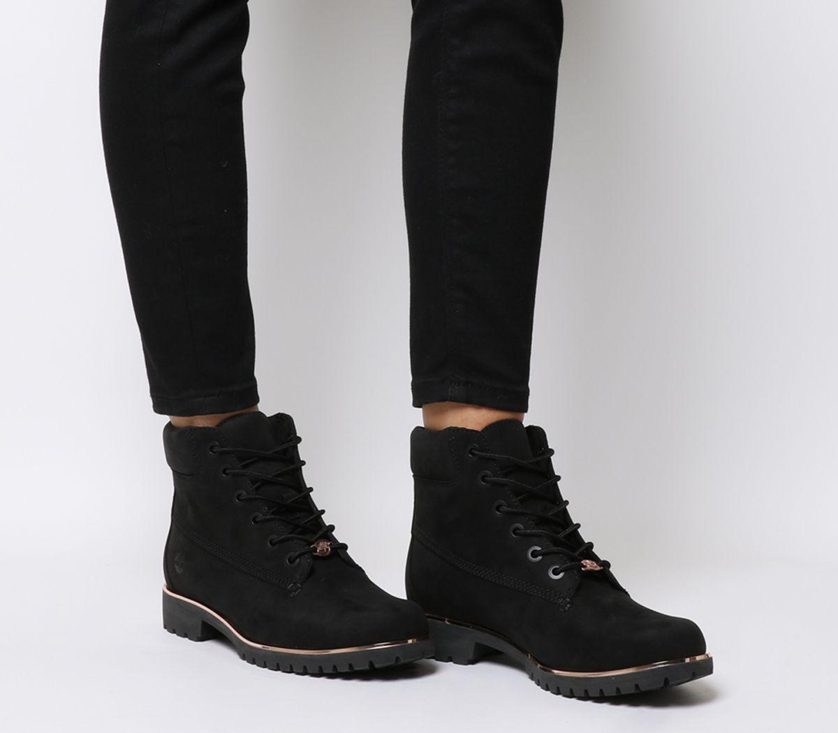 2860807c7fa4ca Dettagli su Donna Timberland Slim Premium 15.2cm Stivali Neri Rosa Dorato  Rand Stivali