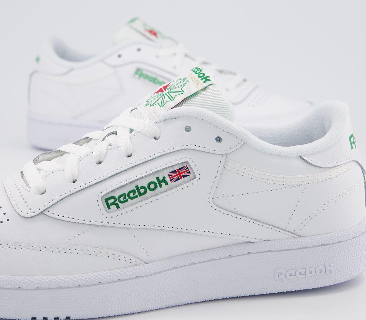 a46c597b6 Sentinel Reebok Club C 85 White Green Trainers Shoes