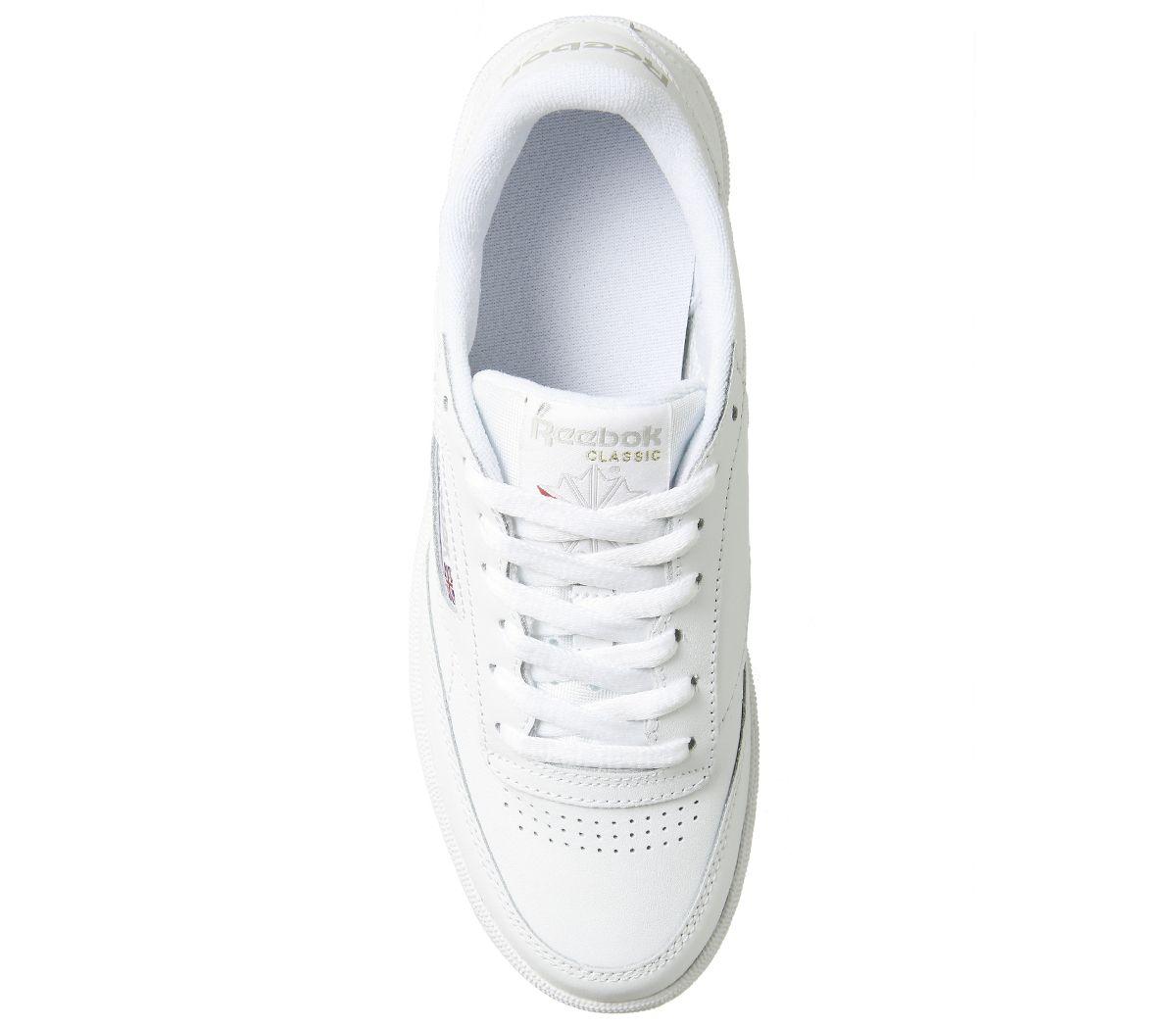 Haut-femme-Reebok-Club-C-85-Baskets-Gris-Blanc-Gomme-Baskets-Chaussures miniature 12