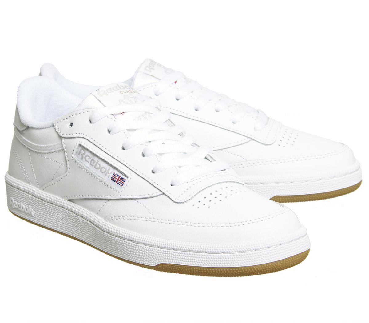 a12dc9b44fc Womens Reebok Club C 85 Trainers White Grey Gum Trainers Shoes