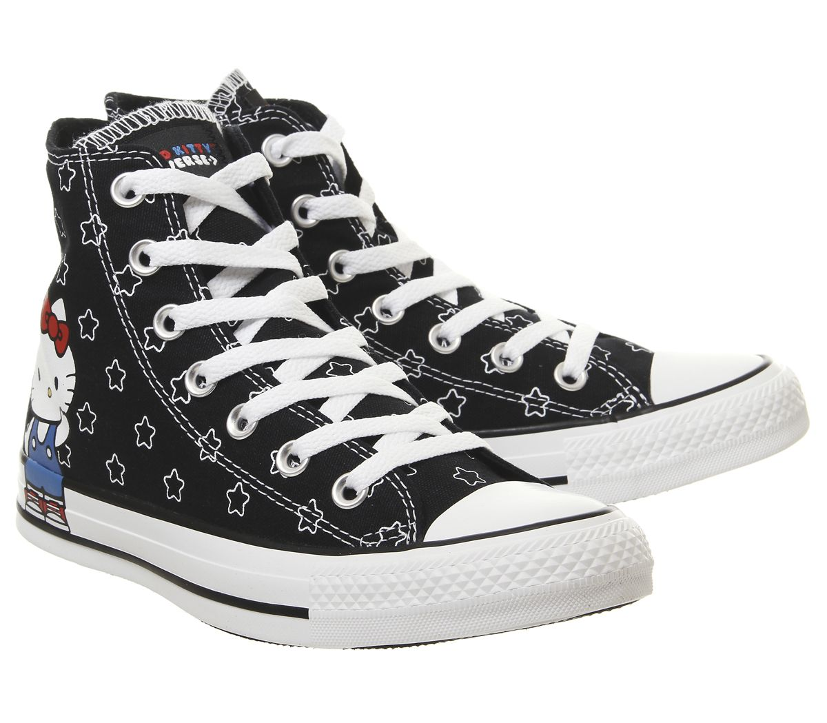 2df27e6fcef1 Details about Womens Converse Converse All Star Hi Trainers Hello Kitty Black  White Trainers S