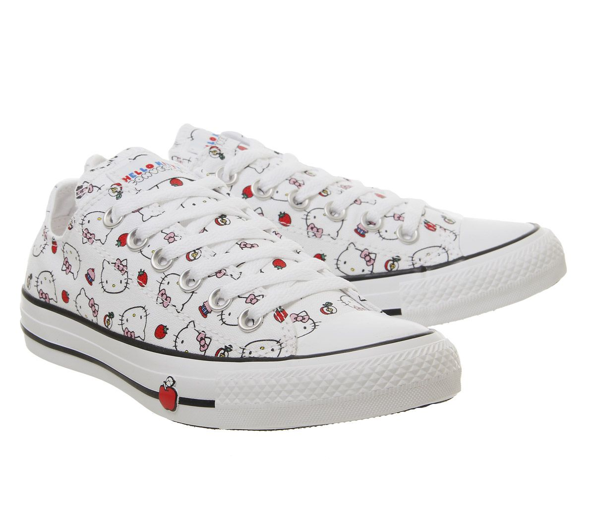 cef98d2c1632 Sentinel Womens Converse Converse All Star Low Trainers Hello Kitty White  Fiery Red Train